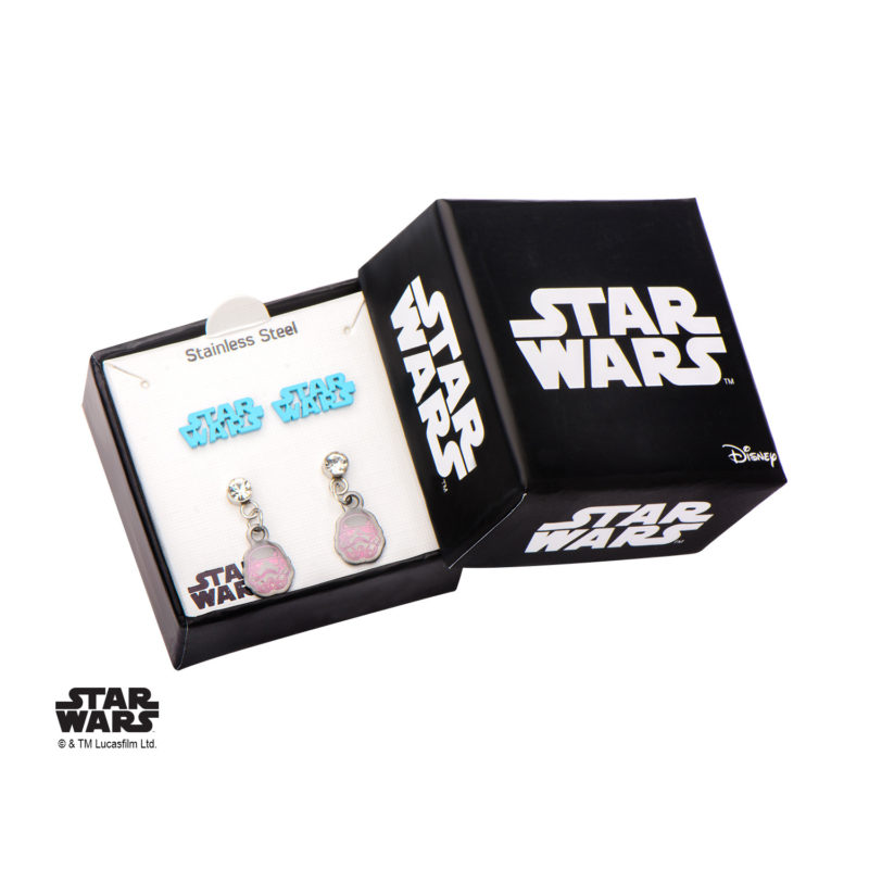 Body Vibe x Star Wars Stainless Steel pink Stormtrooper and Star Wars logo stud earrings set