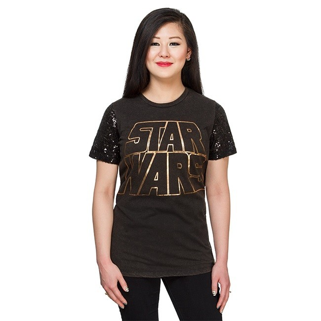 Women's Star Wars logo sequin sleeve tee at ThinkGeek
