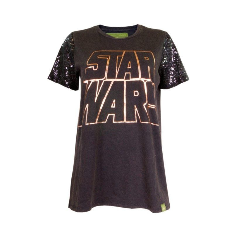 Women's Star Wars metallic foil logo sequin sleeve t-shirt at We Love Fine