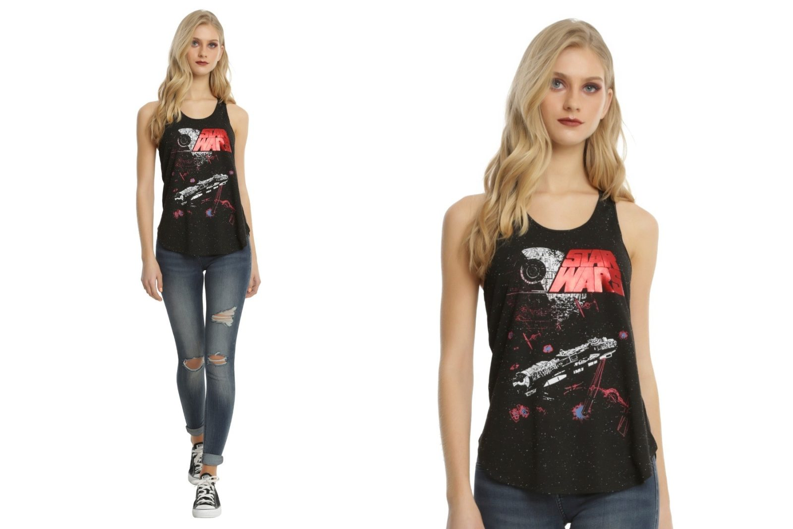 Red foil logo tank top at Hot Topic