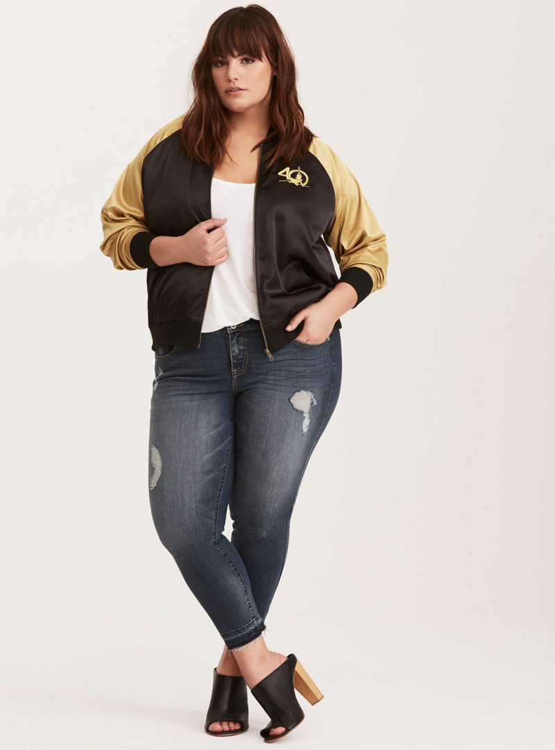 Her Universe x Star Wars Droid Tatooine C-3PO and R2-D2 embroidered satin souvenir plus size bomber jacket at Torrid