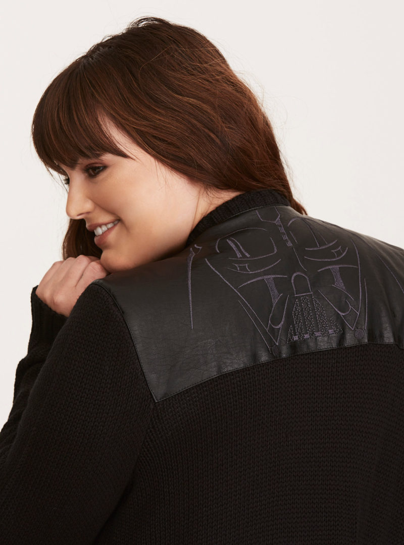 Her Universe x Star Wars Darth Vader faux leather inset plus size cardigan at Torrid