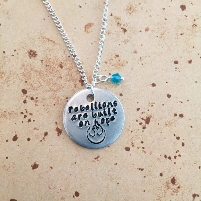 Star Wars Rogue One Jyn Erso inspired quote stamped charm necklaces by Etsy seller Kawaii Candy Couture UK