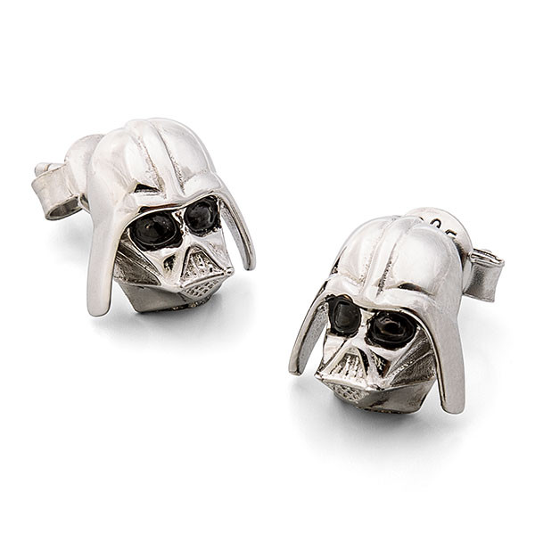 Star Wars Sterling Silver Darth Vader helmet stud earrings jewelry at ThinkGeek