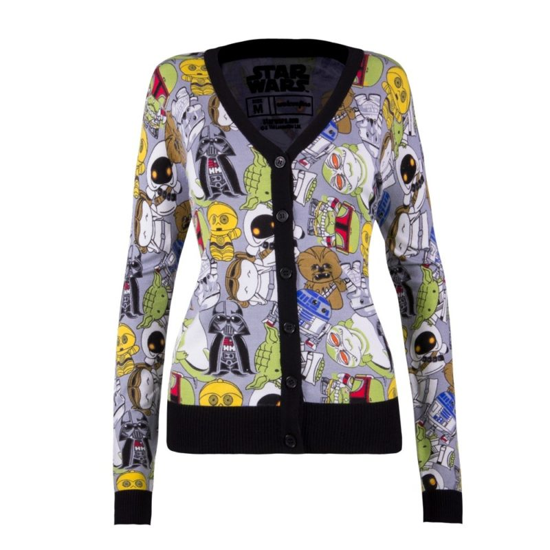 Women's We Love Fine x Star Wars chibi character all over cardigan