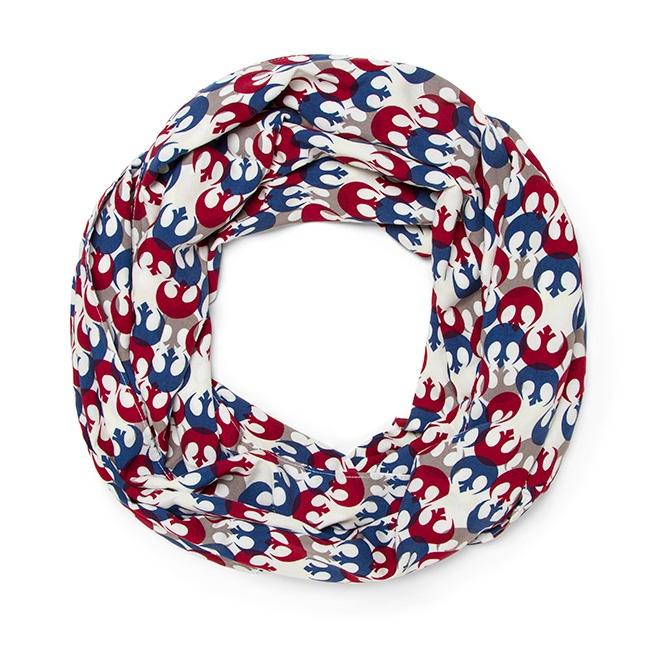 Her Universe x Star Wars Rebel Alliance symbol print infinity scarf at ThinkGeek