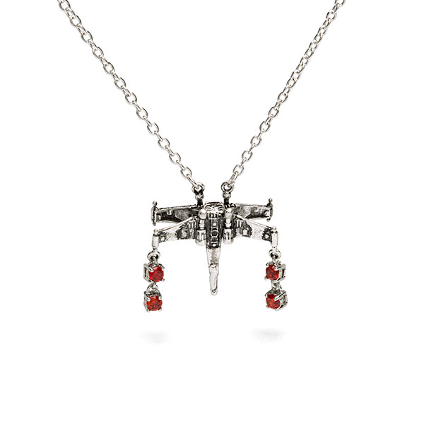Women's Star Wars X-Wing Fighter crystal pendant necklace at ThinkGeek