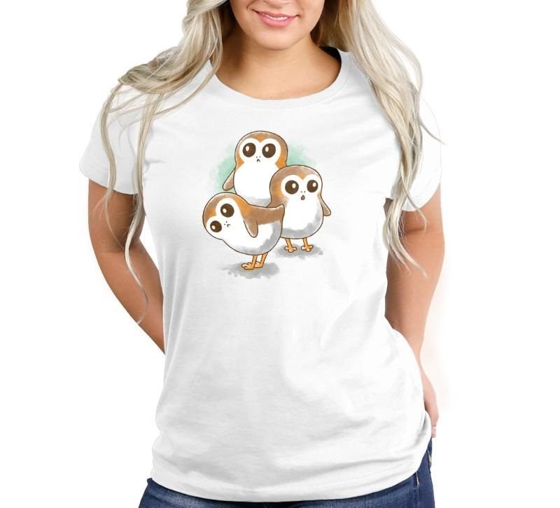 Women's Star Wars The Last Jedi Porgs watercolour t-shirt at TeeTurtle