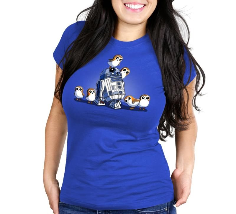 Women's Star Wars The Last Jedi R2-D2 and Porgs t-shirt at TeeTurtle