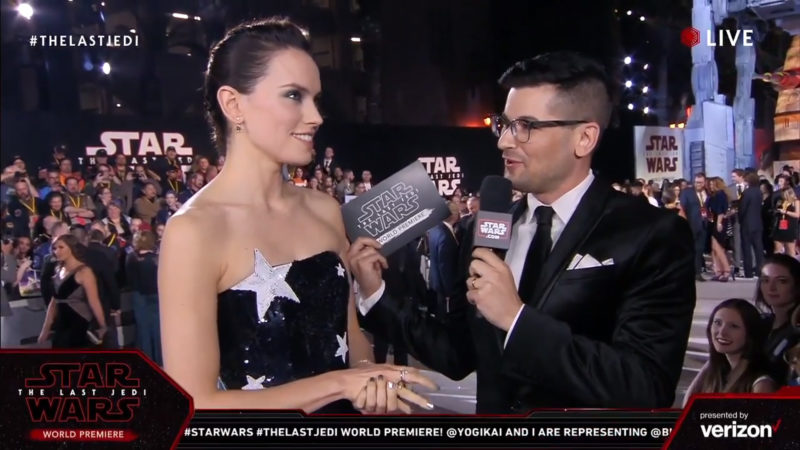 Daisy Ridley on the red carpet for The Last Jedi premiere