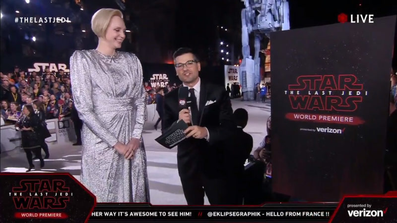 Gwendoline Christie on the red carpet for The Last Jedi premiere