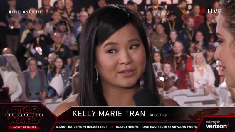 Kelly Marie Tran on the red carpet for The Last Jedi premiere
