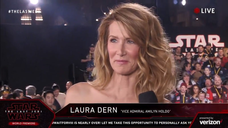 Laura Dern on the red carpet for The Last Jedi premiere