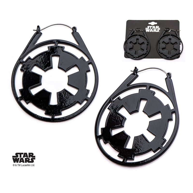 Body Vibe x Star Wars Imperial symbol hoop earrings on Amazon