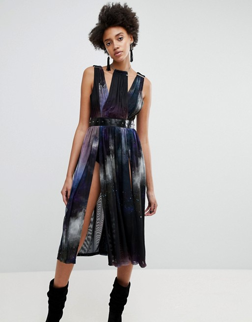 Women's ASOS x Star Wars Galaxy Printed Full Dress
