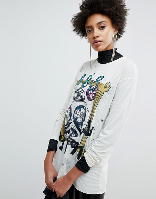 Women's ASOS x Star Wars Printed Oversized Long Sleeve T-Shirt