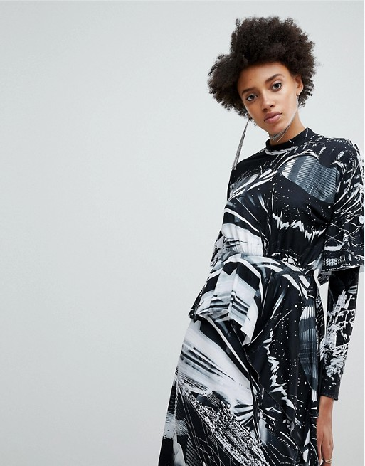 Women's ASOS x Star Wars Printed Long Sleeve Hanky Hem Dress