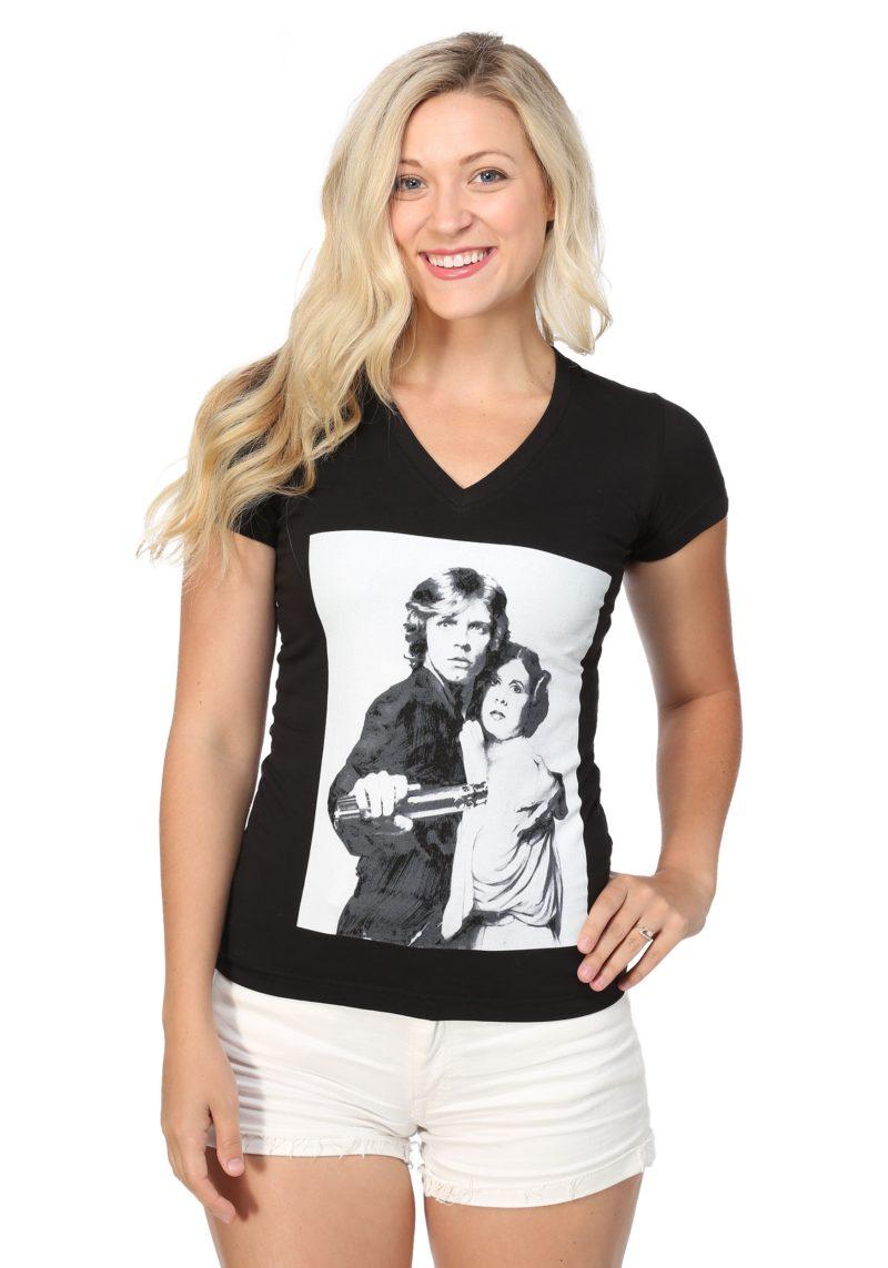 Women's Star Wars Luke Skywalker and Princess Leia v-neck t-shirt at Fun.com