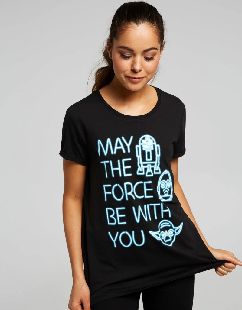 Women's Star Wars neon May The Force Be With You t-shirt at Jay Jays