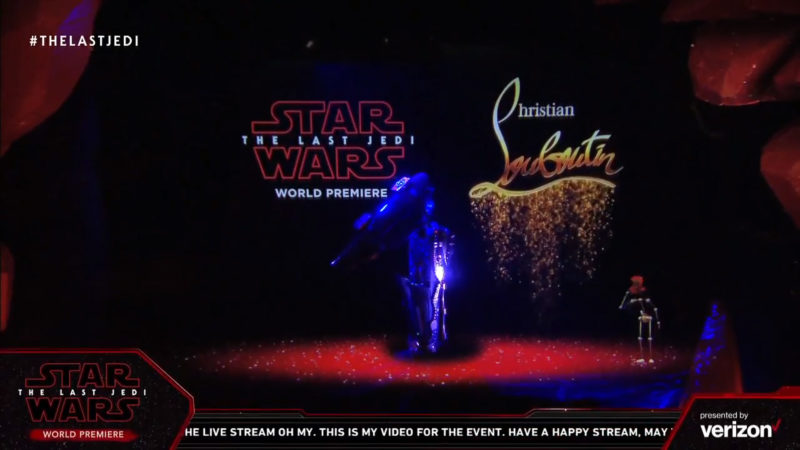 Christian Louboutin at the Star Wars The Last Jedi red carpet premiere