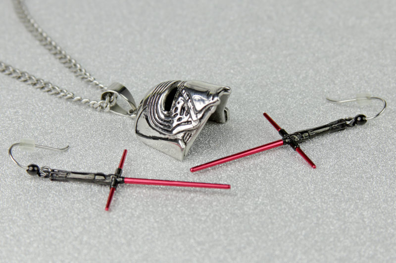 Body Vibe x Star Wars Kylo Ren Lightsaber dangle earrings available exclusively at ThinkGeek