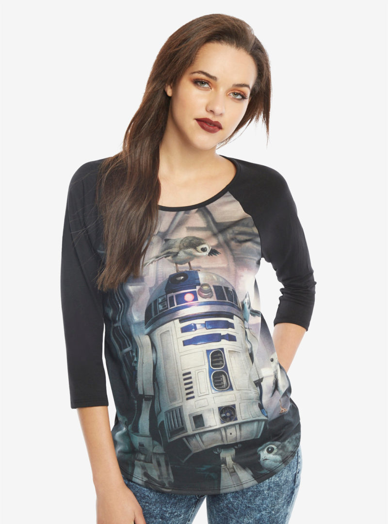 Women's Her Universe x Star Wars The Last Jedi R2-D2 and porgs raglan t-shirt at Hot Topic