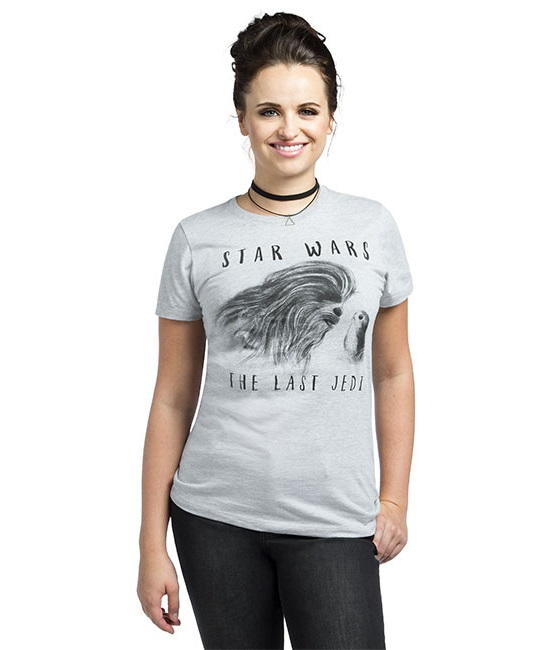 Women's Star Wars The Last Jedi Chewbacca and porg t-shirt at ThinkGeek