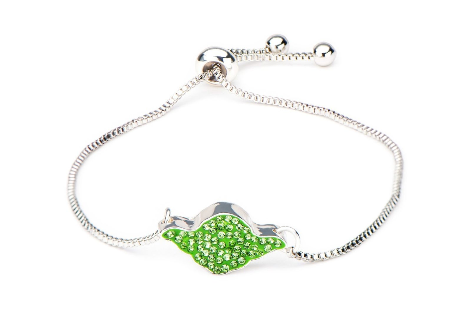 Star Wars Sterling Silver Yoda Crystal Bracelet