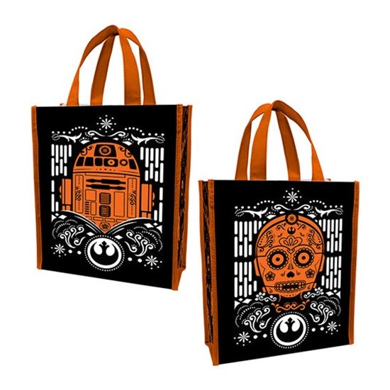Star Wars Halloween themed R2-D2 & C-3PO tote bag at Entertainment Earth