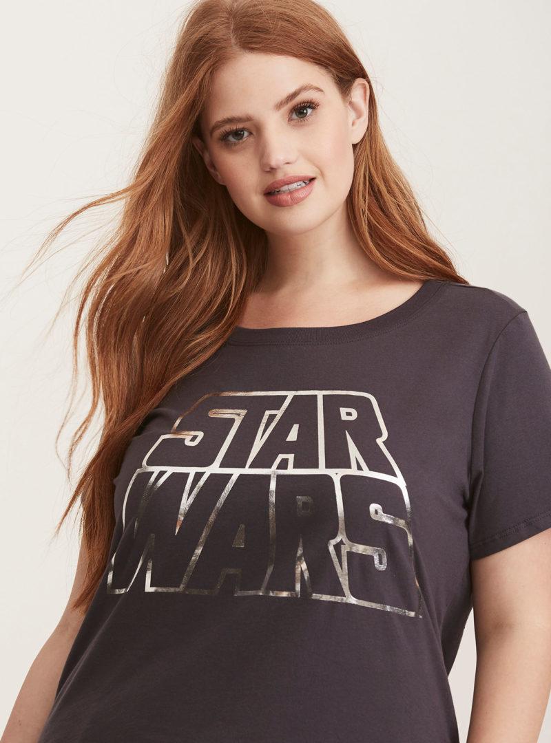 Women's Star Wars metallic logo plus size t-shirt at Torrid