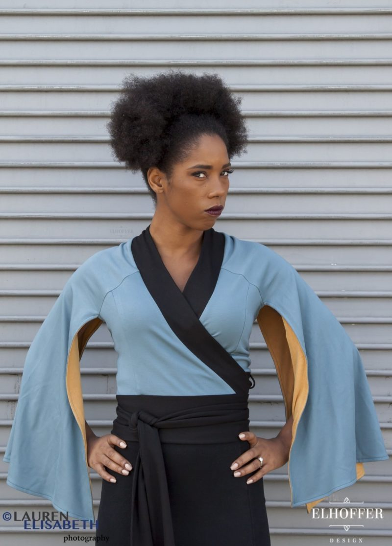 Women's Star Wars Lando Calrissian inspired Galactic Baron wrap top by Elhoffer Design