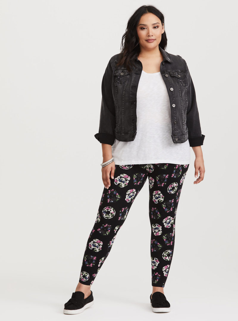 Women's Star Wars Imperial black floral plus size leggings at Torrid