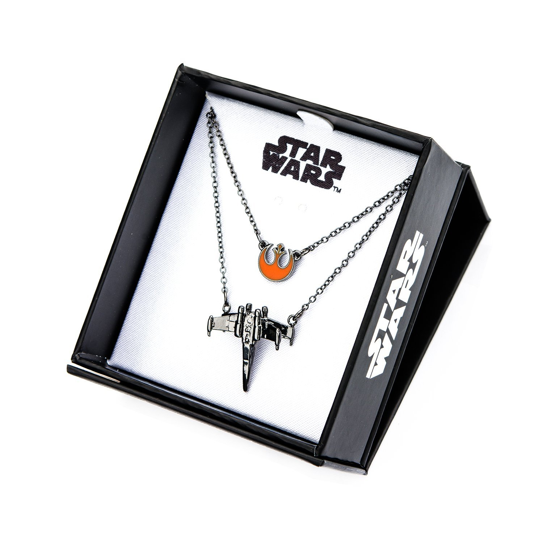 Women's Star Wars Episode 8 Rebel Poe Dameron X-Wing Tiered Pendant Necklace on Amazon