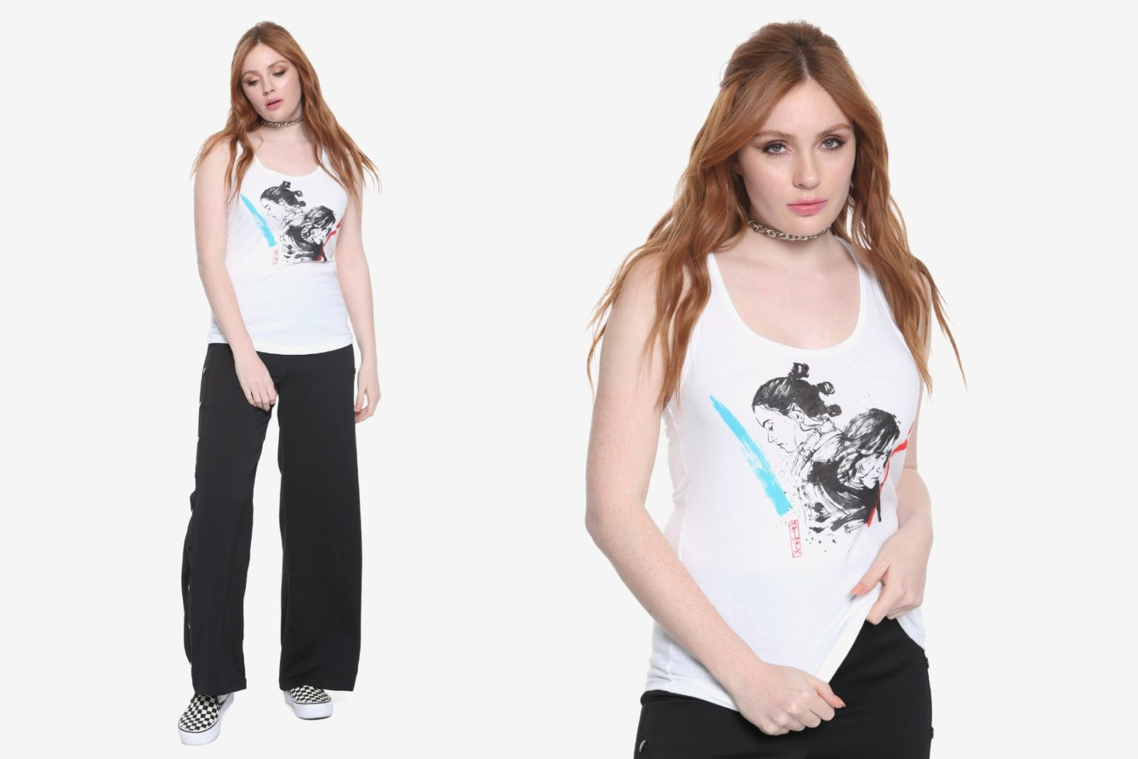 Women's TLJ Kylo Ren & Rey Sketch Tank Top