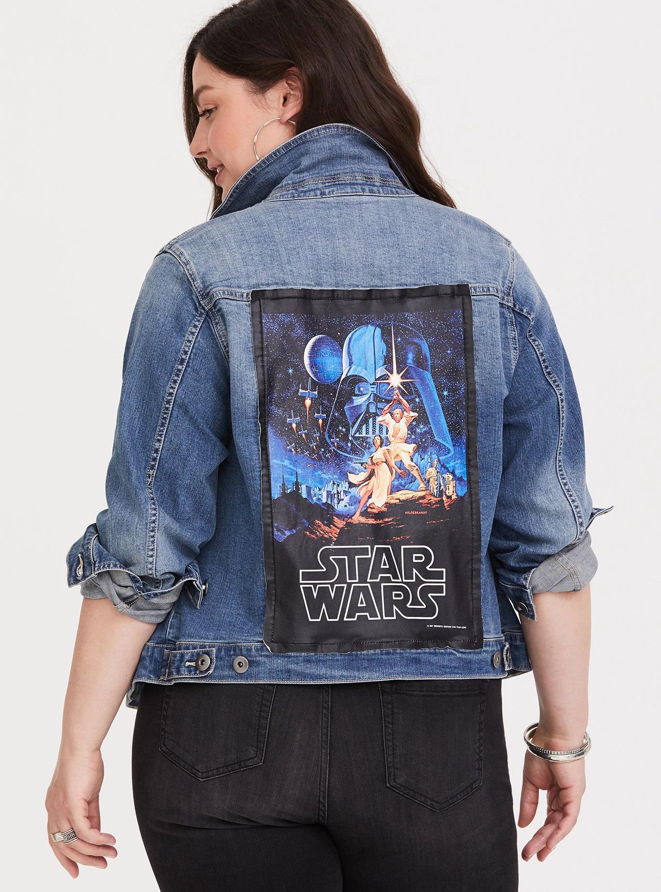 35f11172cc4 ... Women s Her Universe x Star Wars Patch Plus Size Jean Jacket at Torrid