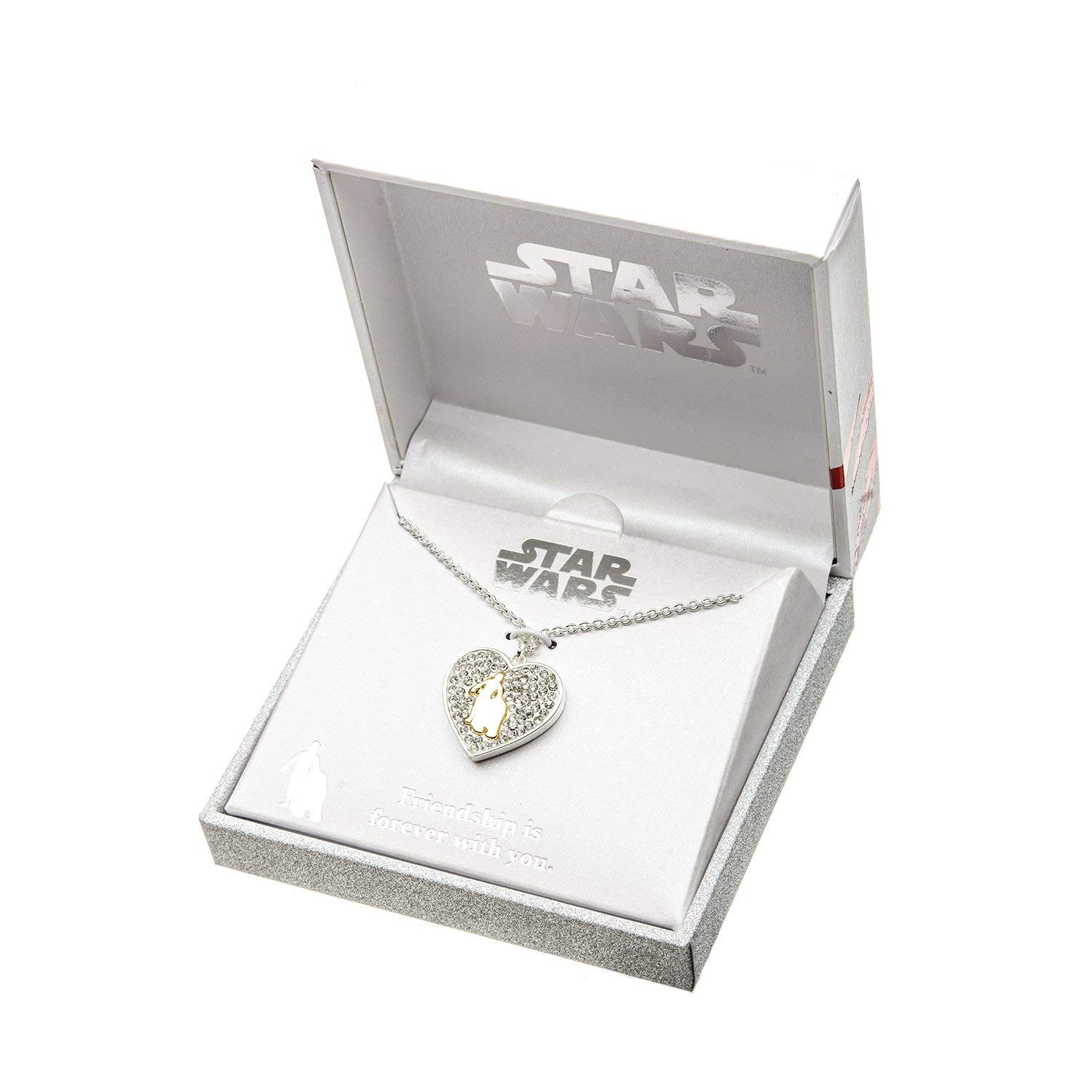 Body Vibe x Star Wars C-3PO and R2-D2 Rhinestone Heart Necklace on Amazon