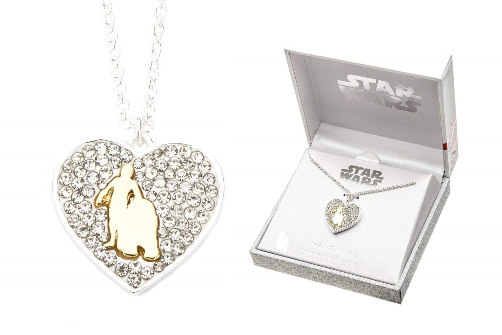 C-3PO & R2-D2 Rhinestone Heart Necklace