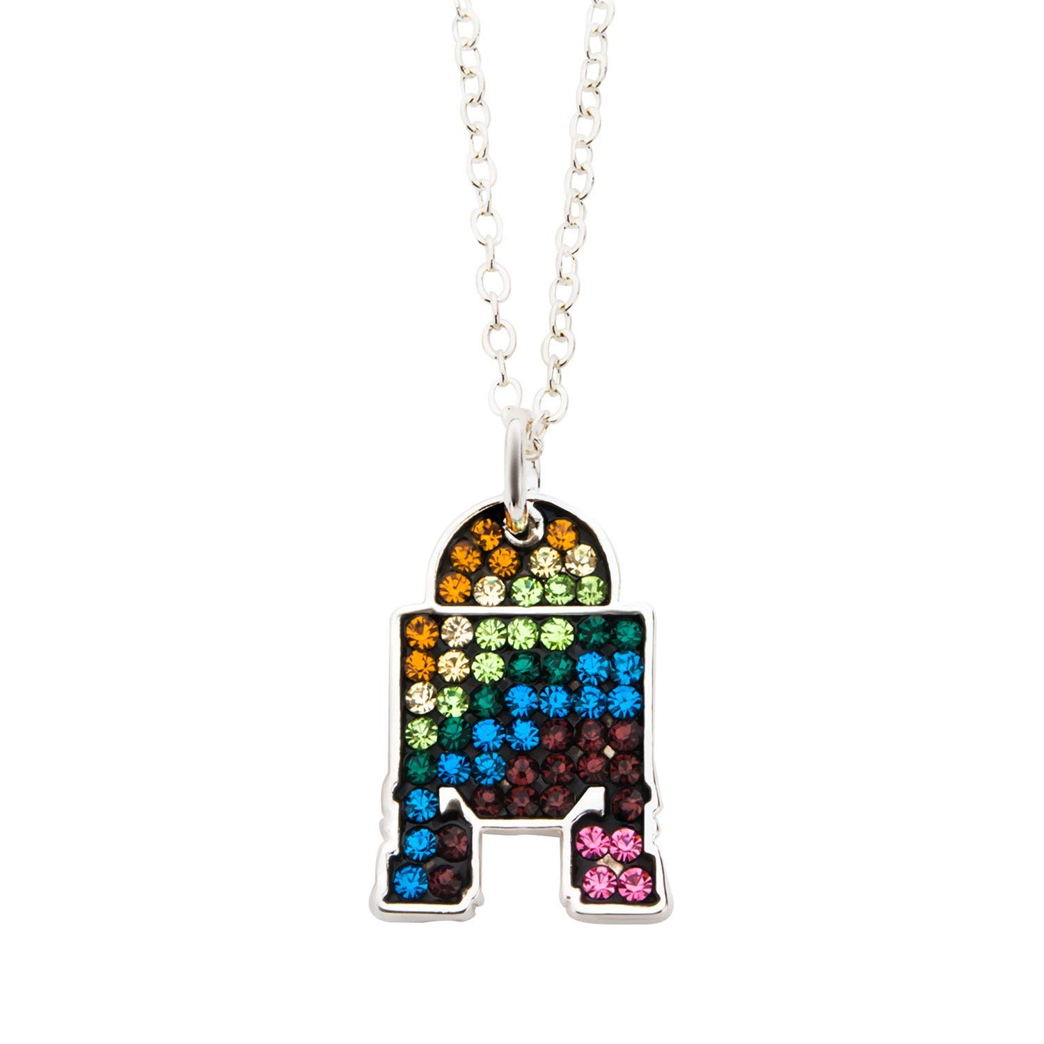 Body Vibe x Star Wars R2-D2 Rainbow Rhinestone Necklace on Amazon