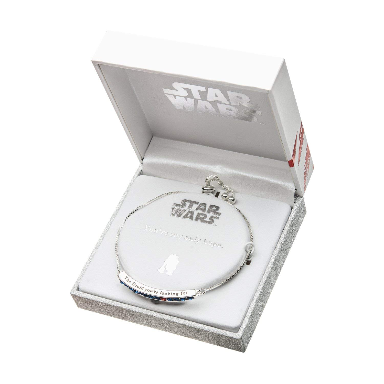Body Vibe x Star Wars R2-D2 Rhinestone Silver Plated Adjustable Bracelet on Amazon