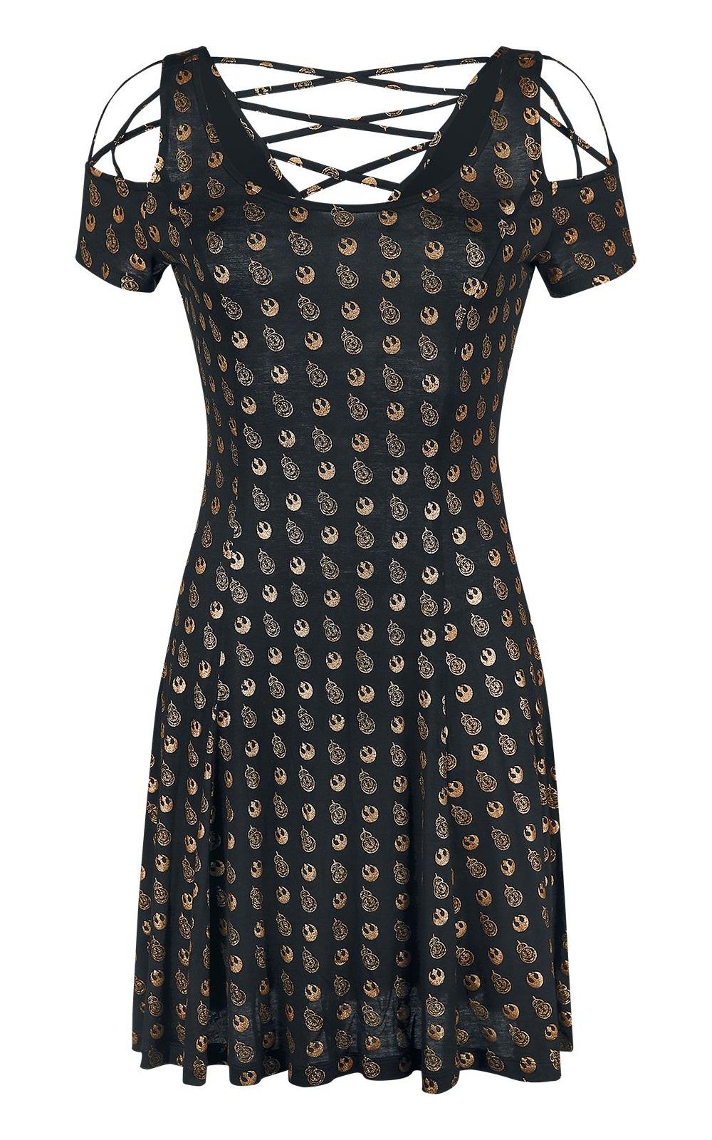 Women's Star Wars BB-8 Metallic Gold All Over Print Dress at EMP Online