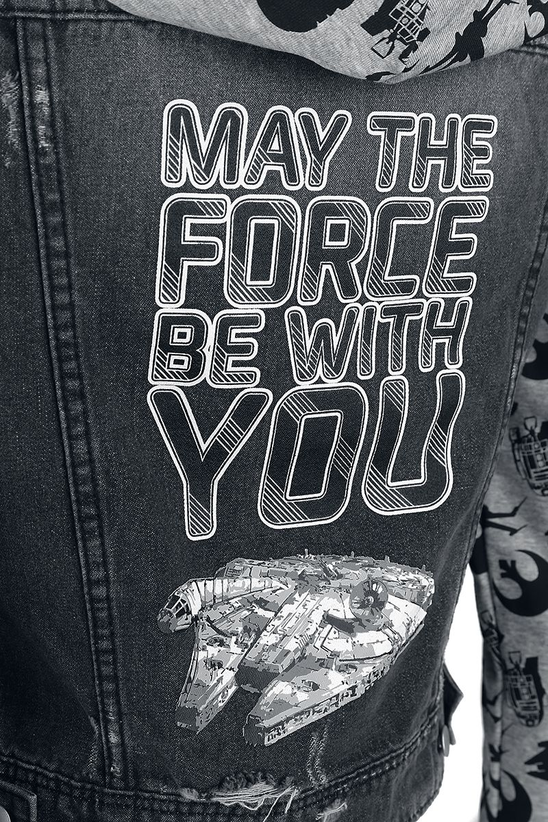 Women's Star Wars May The Force Be With You Denim Hoodie at EMP Online
