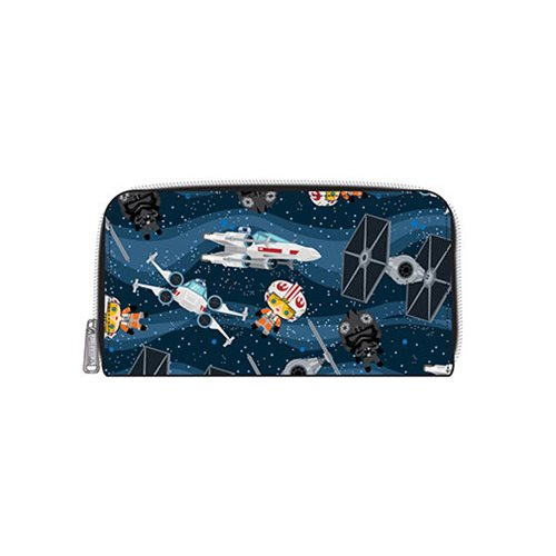 Loungefly x Star Wars Chibi Starships Zip Up Wallet at Entertainment Earth