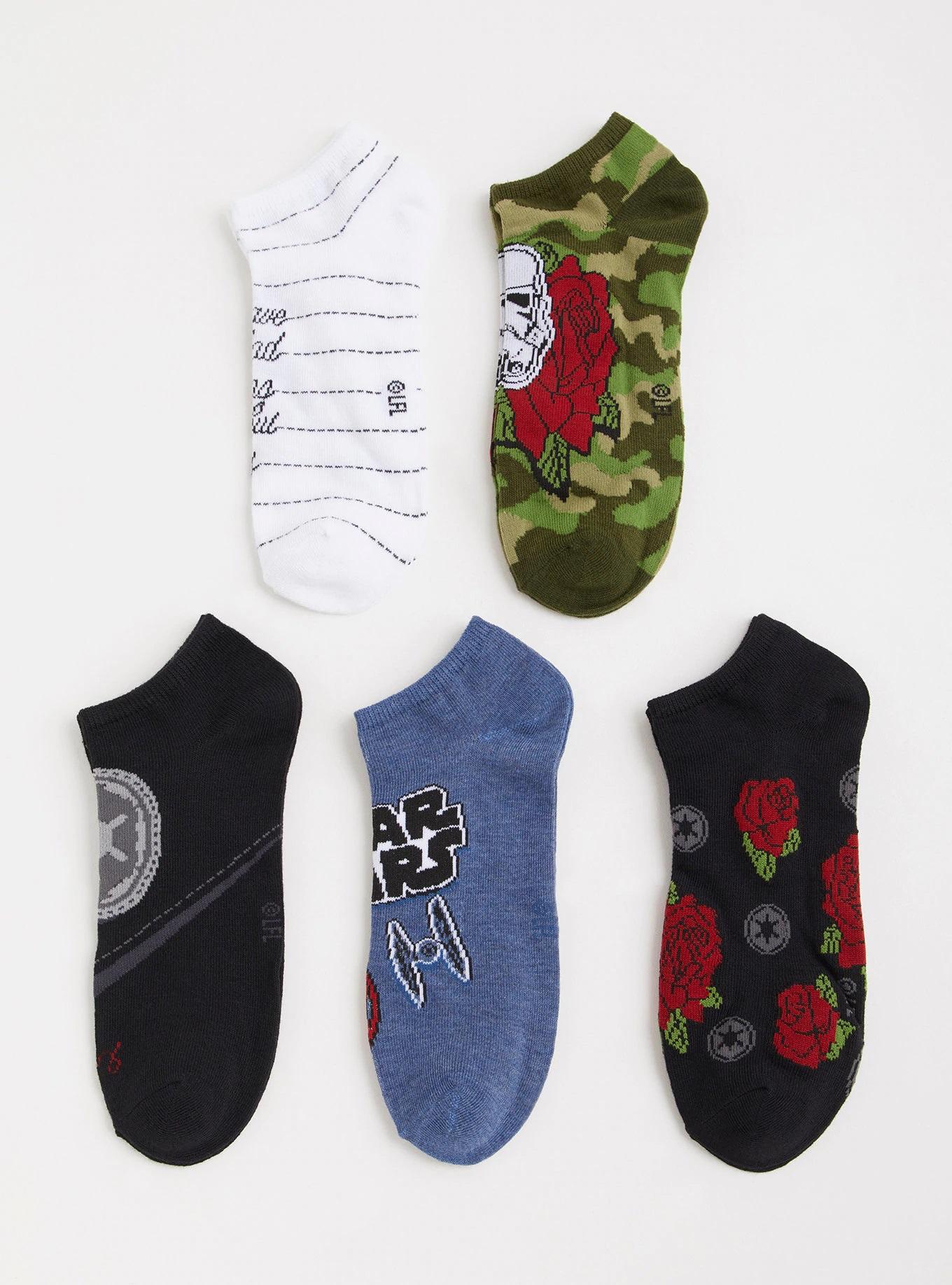 Women's Star Wars Floral Dark Side No-Show Ankle Sock 5-Pack at Torrid