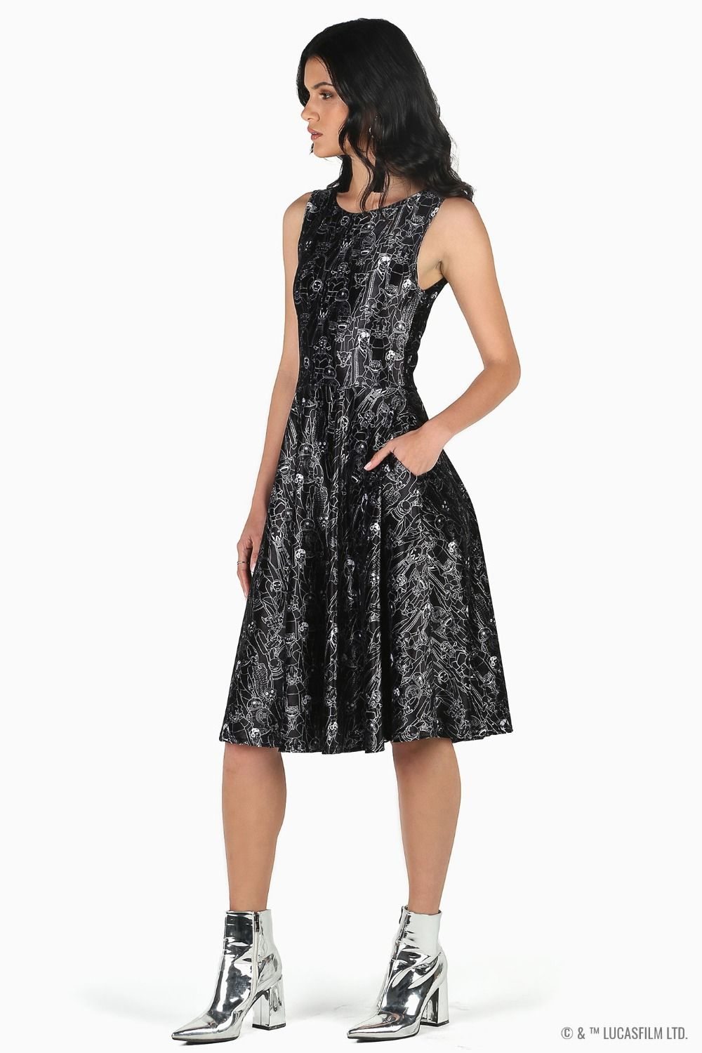 Black Milk Clothing x Star Wars Sentients Velvet Princess Midi Dress