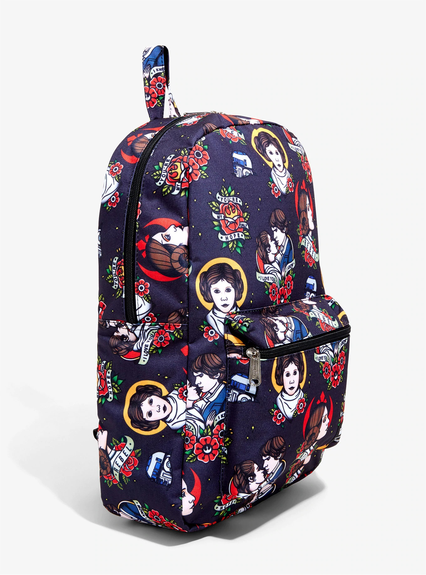 Loungefly x Star Wars Princess Leia and Han Solo Tattoo Print Backpack at Hot Topic