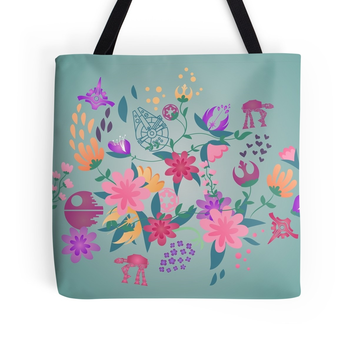 Star Wars Floral Print Tote Bag by Fashions For Fans on RedBubble