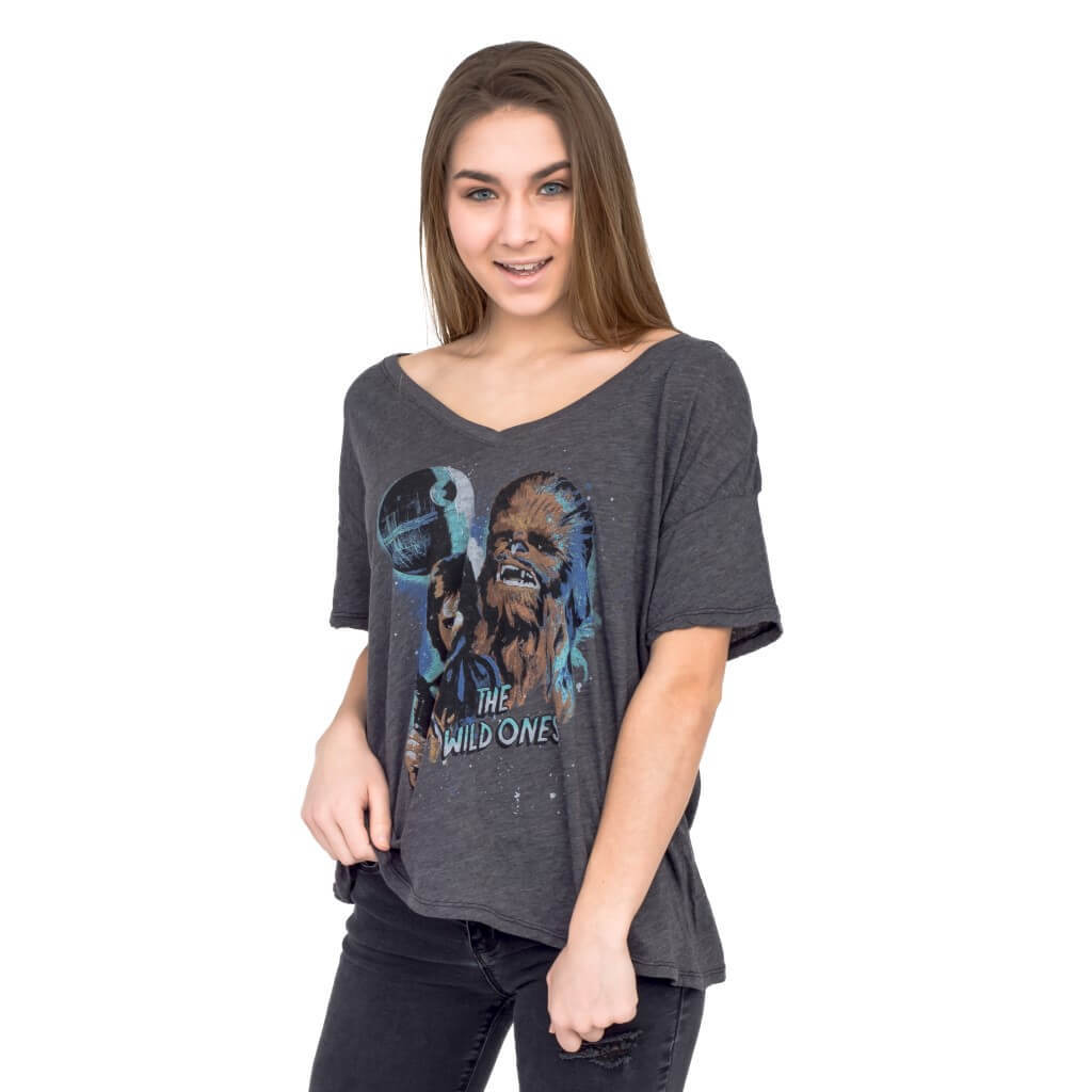 Women's Junk Food Clothing x Star Wars Han Solo and Chewbacca Wild Ones T-Shirt at TV Store Online