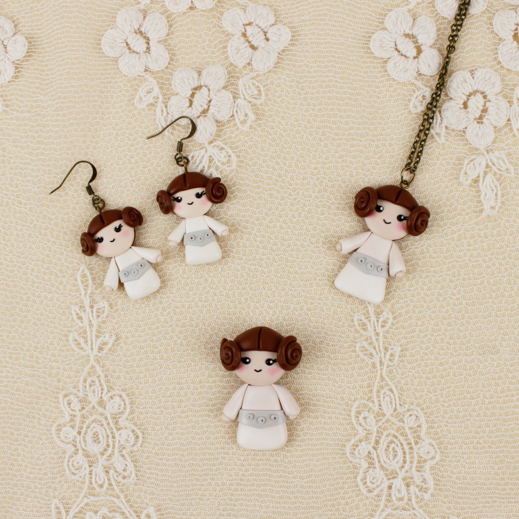 Star Wars Princess Leia Earrings and Necklace by MagicStuffStore on Etsy