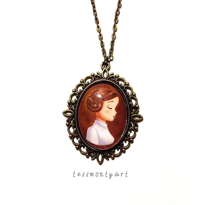 Star Wars Princess Leia Necklace by tessmontyart on Etsy