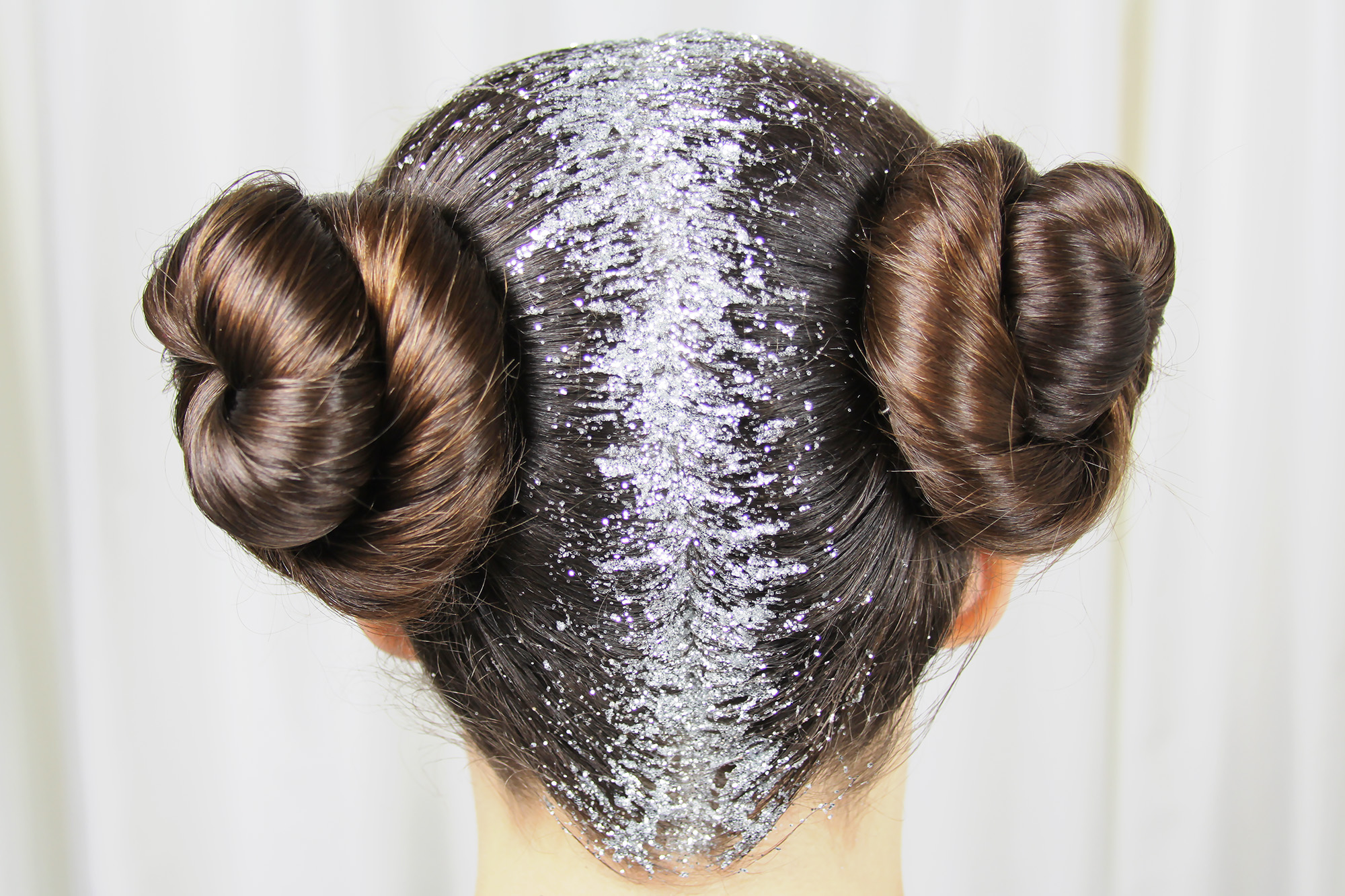 Glitter For Carrie - Star Wars Princess Leia inspired hairstyle with silver glitter